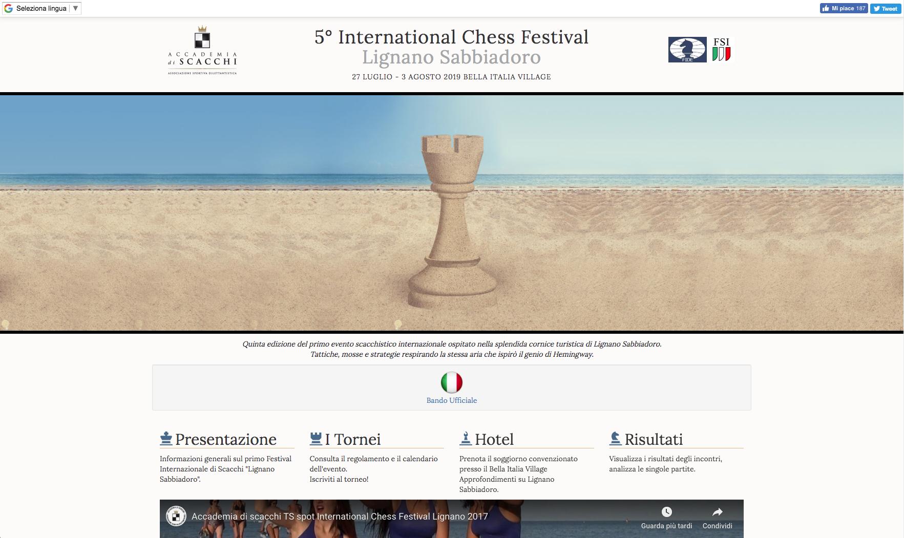 Sito Torneo Internazionale di Scacchi Lignano Sabbiadoro